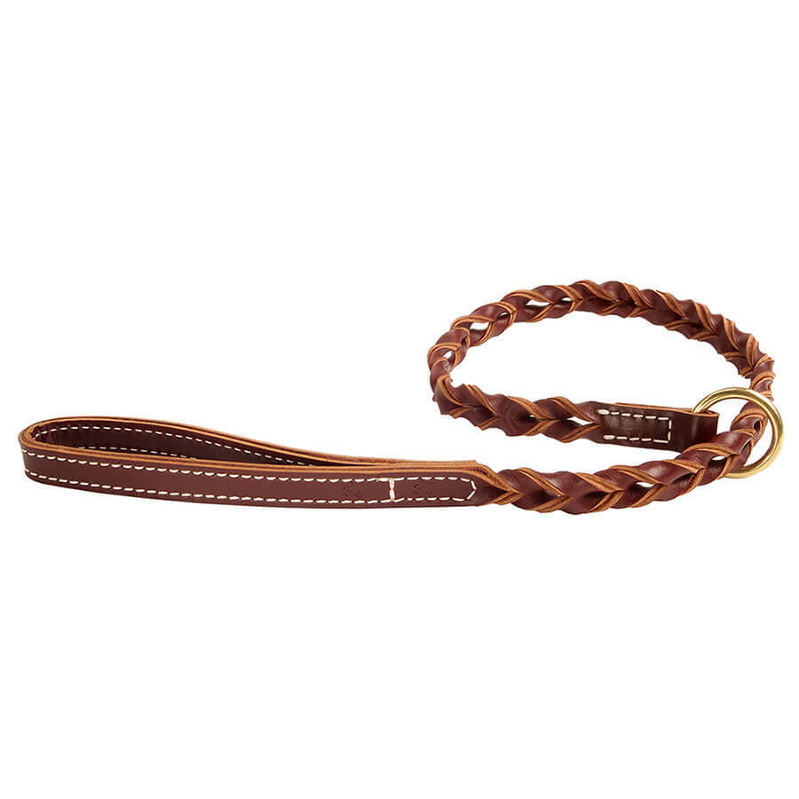 Coyote Company woven leather slip lead