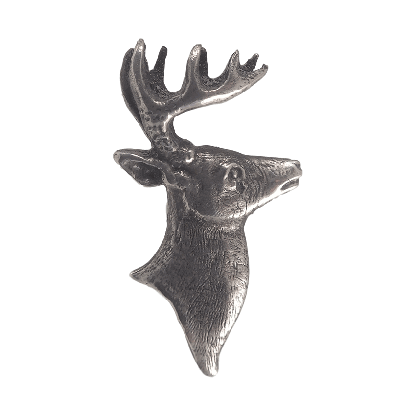 silver deer head accent for belt